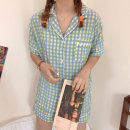 여성 체크 잠옷 여름 반팔 파자마 홈웨어