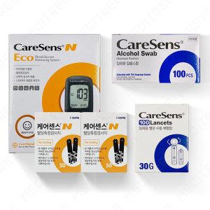 케어센스N 에코 혈당측정기+시험지 100+침110+솜100