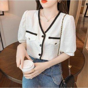 A1187Q 봄여름 여자 반팔 브이넥 티셔츠 상의 트렌드