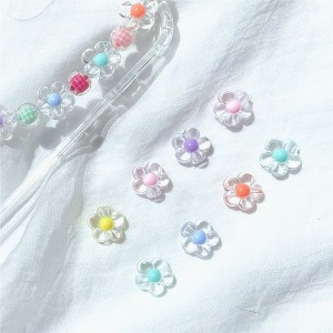 (18pcs)미니 투명 5잎꽃 모양 비즈재료