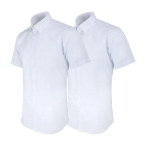 레디핏 화이트 흰색 슬림핏 반팔 와이셔츠 2장세트