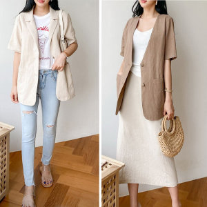 여름자켓 린넨여성자켓 봄여름 간절기옷 하객룩패션