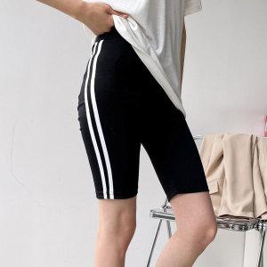 라인 쫄바지 5부 4부 여성 바이커 레깅스 흰색 블랙