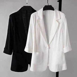 여성 여름 간절기 린넨 카라 루즈핏 자켓 재킷