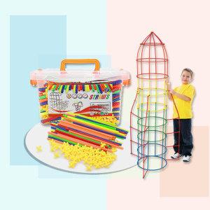 유아 아동 어린이 빨대블럭 500p 입체 창의력 장난감