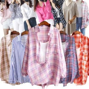 여름신상 여성셔츠 체크 루즈핏 빅사이즈 오버핏 남방