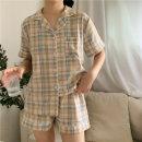 여성 잠옷 세트 홈웨어 파자마 데일리 체크 여름잠옷