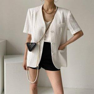 여자 루즈핏 트위드 여름 반팔 재킷 면 마 쟈켓