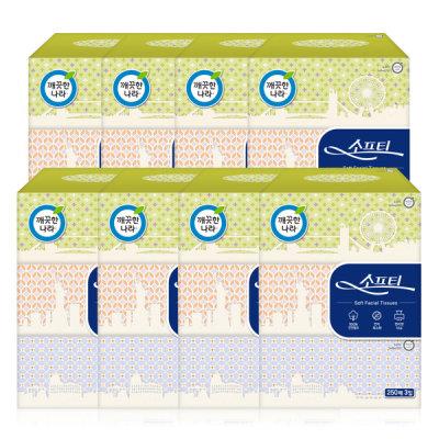 [깨끗한나라] 소프티 미용티슈 250매 3입 x 8팩