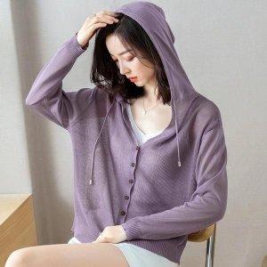 여성 여름 얇은 니트 후드 카디건 자외선 차단 통기성