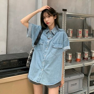 루즈핏 청 데님 롤업 여름 반팔 셔츠 남방 SY