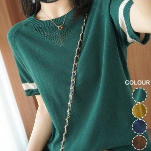 여성 여름 라운드 배색 슬림 반팔  니트 티셔츠  AYN6