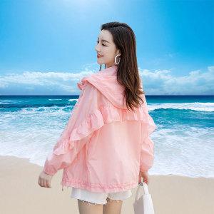 여성후드자외선차단복 프릴 숏 아우터 셔링 단색 자켓