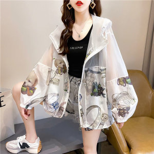 미디 자외선차단복 프린트 후드 투명 바람막이자켓