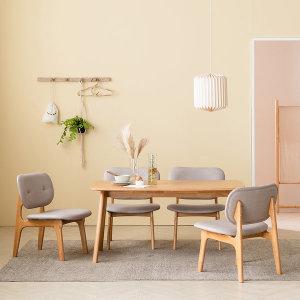 스칸딕 패밀리 원목 4인 낮은 식탁세트+벤치1 의자2