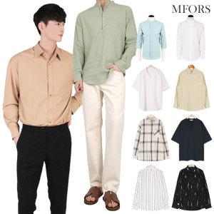 남자셔츠 차이나 옥스포드 체크 스트라이프 와이셔츠