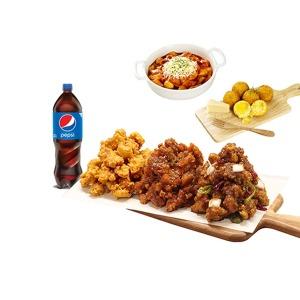 (노랑통닭) 3종세트+치즈볼+눈꽃치즈떡볶이+콜라