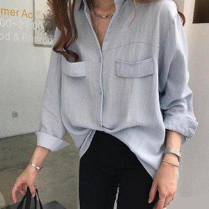 여자무지남방 여성 루즈핏 면남방 기본셔츠 3컬러 블