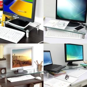 강화유리 모니터받침대/ 컴퓨터받침대/ 모니터선반