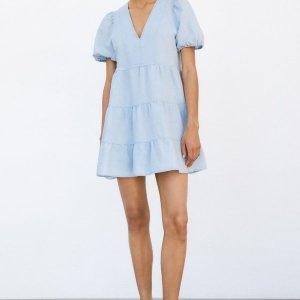 ZARA LINEN BLEND TIERED DRESS