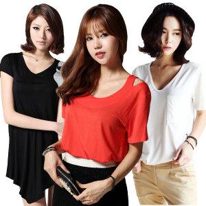 여성 여름 티셔츠/롱티/반팔/나시/크롭/오프숄더/무지