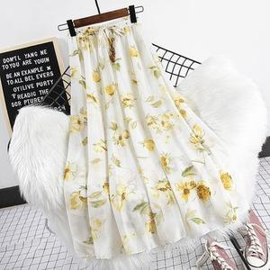 하이웨스트 스커트 꽃무늬 치마 여자 플로럴 쉬폰 여