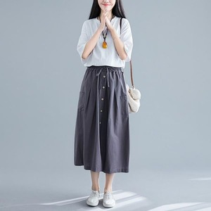 여성 인싸 면마 패치 슬림 캐주얼 밴딩 치마