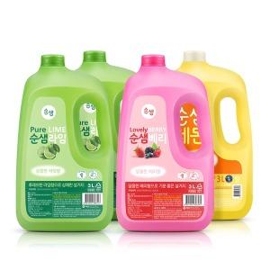 주방세제 순샘 대용량 3L x4개(라임2/베리1/레몬1)