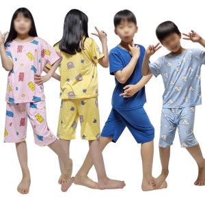 아동 잠옷 세트 피치 쿨 성인 커플 파자마 도형 여름