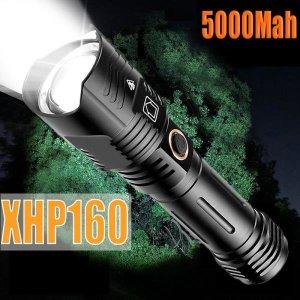 최신 XHP160 강력한 LED 손전등 USB 충전식 줌 토치 I