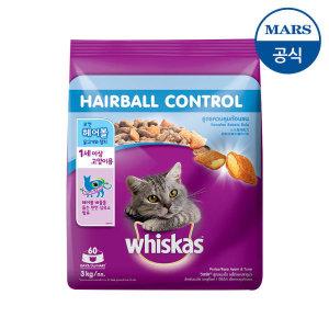 위스카스  건사료 헤어볼 닭고기와참치 3kg/고양이 사료