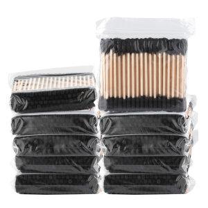 블랙 회오리 나무면봉 10봉 검정 나선형 흑면봉