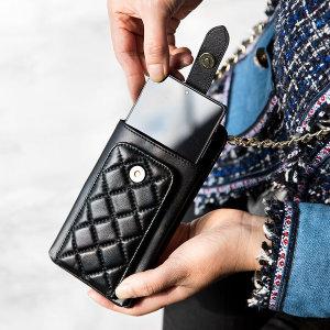 양가죽 퀼팅 지갑형 핸드폰가방 미니크로스백 L3027