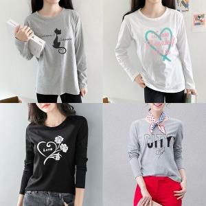 (하나홀릭)티셔츠/맨투맨/레이어드/기모/긴팔/프린트