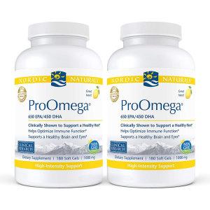 2개 프로 오메가3 1280 mg 650 EPA 450 DHA 레몬맛 180 소프트젤 Nordic 빠른직구