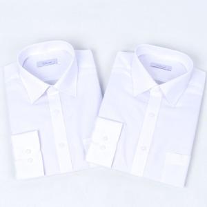남성용 베이직 화이트 레귤러 긴팔 와이셔츠 2장세트