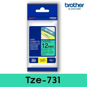 TZe-731_녹색바탕_검정글씨12mm 브라더정품라벨테이프