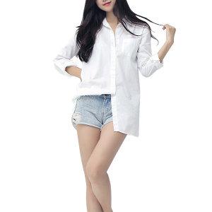기본롱남방/화이트셔츠/흰남방/보이핏셔츠 롱셔츠