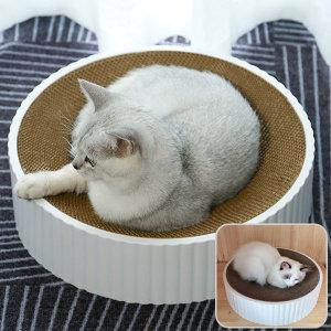 원형 소파 고양이 스크래쳐 방석 냥모나이트 써클 46Cm