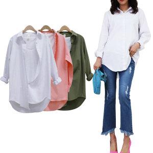 롱남방/기본롱셔츠/화이트롱셔츠/흰남방 루즈핏남방