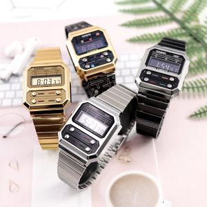 카시오 빈티지 레트로 메탈 디지털 시계 A100WE-1A