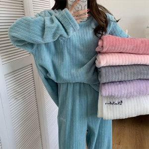 여성 겨울 극세사 파자마 수면잠옷 세트 실내복홈웨어