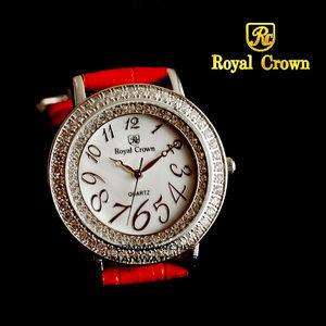 [저먼와치스] 저먼와치스 LADY BARODA RED 로얄크라운 여성 크리스탈 큐빅 가죽시계