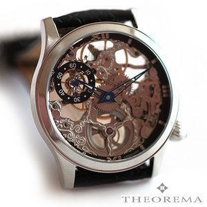 [저먼와치스] 저먼와치스 독일 테오레마 몬테카를로 SILVER BLACK 독일 남성 정장 스켈레톤 가죽 시계