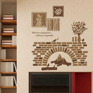 로맨틱벽난로 포인트그래픽스티커 카페 시트지 벽지 액자 ...