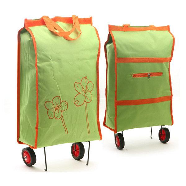 카트형 접이식 시장가방/쇼핑카트 바퀴 장바구니 인쇄