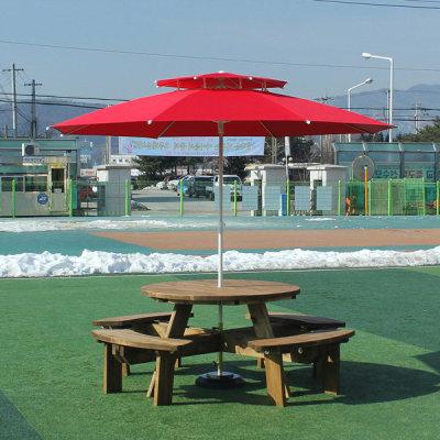 원형 원탁 야외 테이블 8인 원목 벤치 정원 의자 세트 - 옥션