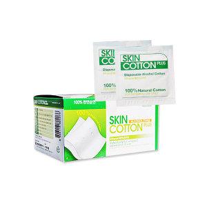 스킨코튼 플러스 100매(1매용) 소독솜  알콜솜