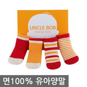 엉클밥 면100%특허 유아양말 4족세트 아기/신생아
