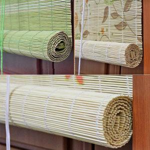 대나무 자동문발/블라인드 커튼발 햇빛가리개 갈대발